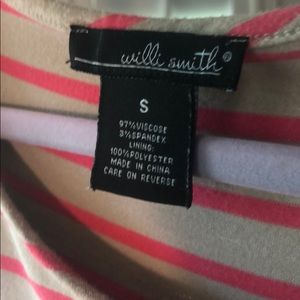 Willi Smith Tops - Willi Smith coral/pink and beige cross front top